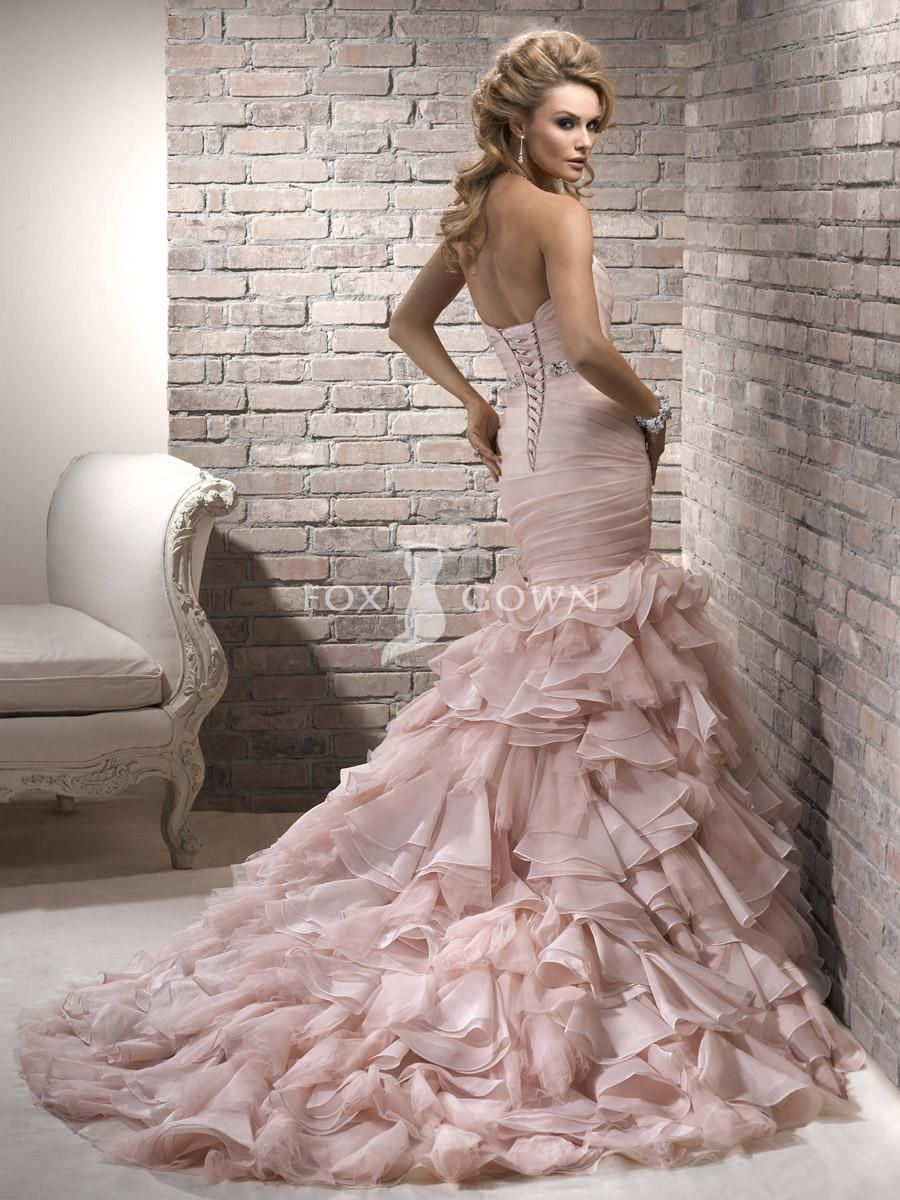 blush colored see through wedding dress | blush organza mermaid ...