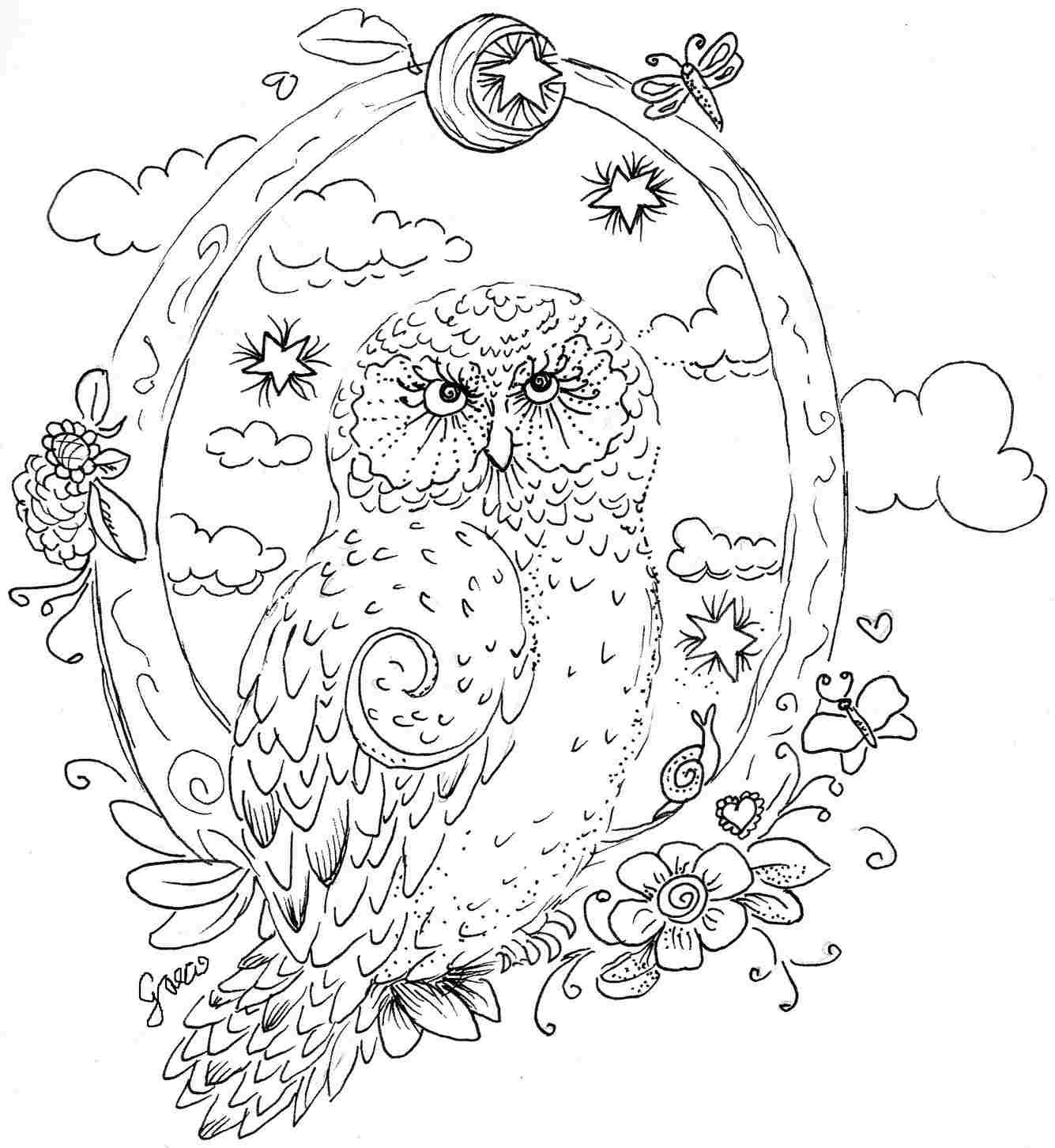 pics for u003e coloring pages for adults difficult owls coloring