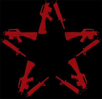 Anti Flag Star Black Red Zeichnungen Sticken Konzerte