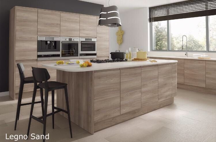 Legno handleless wood grain effect kitchen in Sand