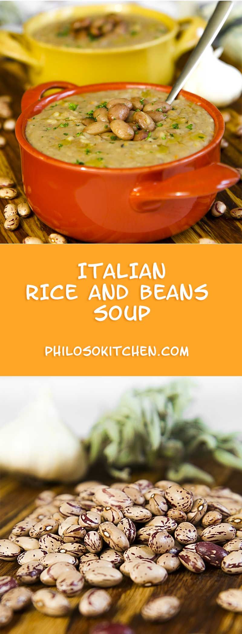Italian rice and beans soup - a fall delight! Try this healthy autumnal cream soup, it will warm you during the coldest nights! ---- recipe, dinner, thanksgiving, crockpot,dinner recipes, vegan, vegetarian