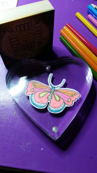 Neon butterfly in ink on bristol board beautifully mounted in a magnetic frame €7+p&p