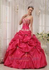 Puffy Formal Coral Red Quinceanera Dress Sweetheart Taffeta Appliques Ball Gown - US$208.49  http://www.dresses100.com/  strapless sleeveless sweet 15 dresses | formal evening quince dresses | ball gown quinceneara dresses | military quinces dresses | sweet sixteen quinceanera dresses under 250 |