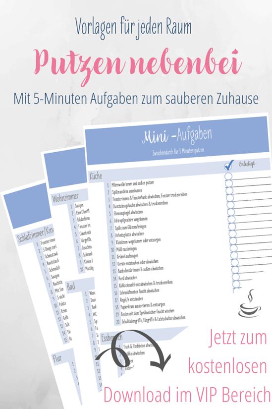 Putzenplan Fur Nebenbei Mit 5 Minuten Vorlage Putzplan Reinigungsplan Vorlagen Haushalts Ordner