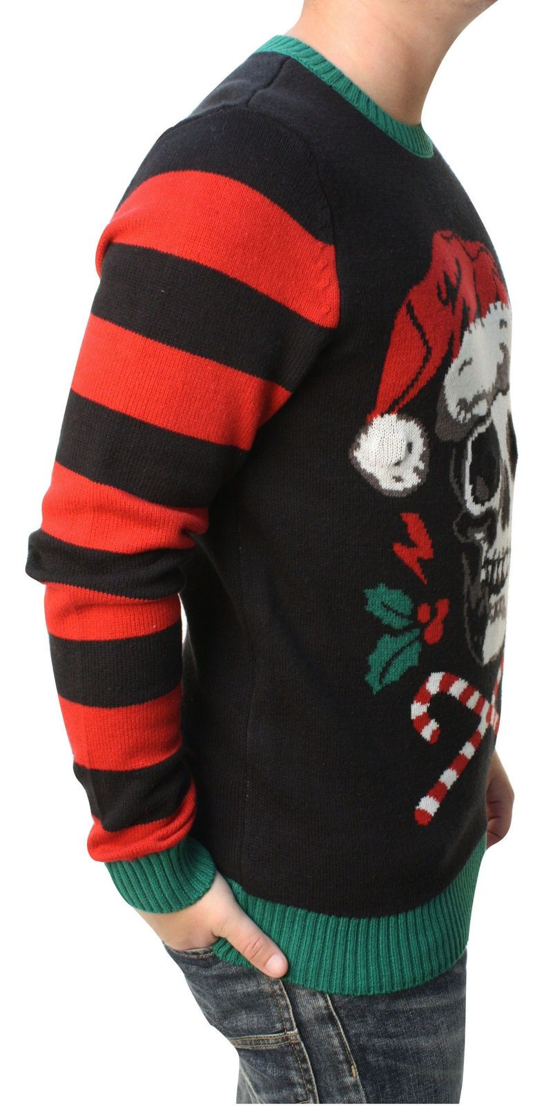 7742dfc0033c8 Ugly Christmas Sweater Men s Skull Santa Hat Light Up Pullover Sweatshirt
