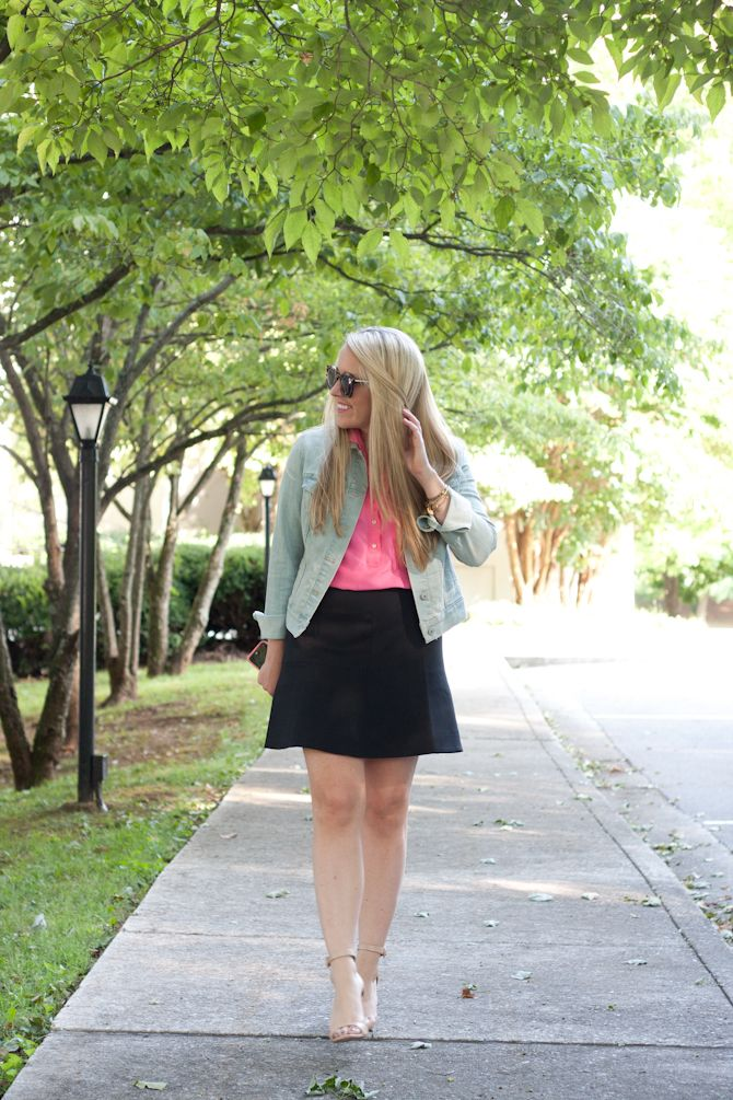 J.Crew fluted skirt & hot pink blouse