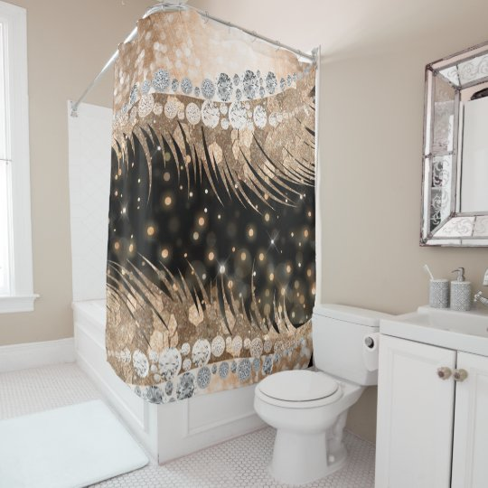 Pin On Luxury Copper Glitter Lash Metallic Shower Curtain