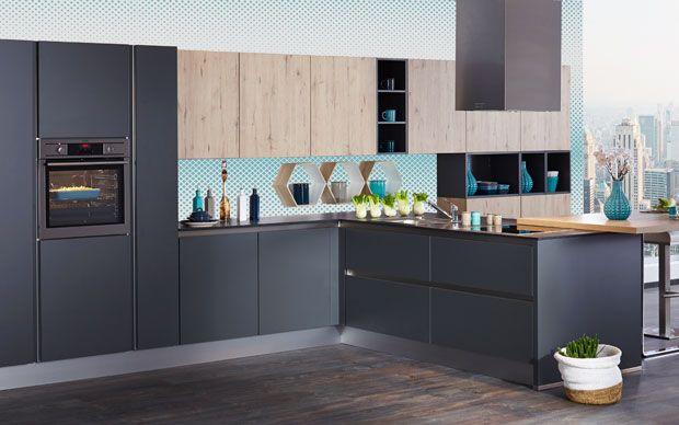 Graue grifflose Küche im Geometrischen Look Geometric Style