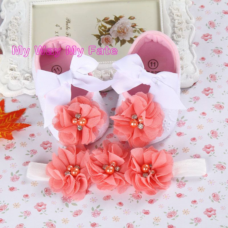 Baby pearl Crown Christening baptism toddler girl shoes headband set ... c7bd46130dea