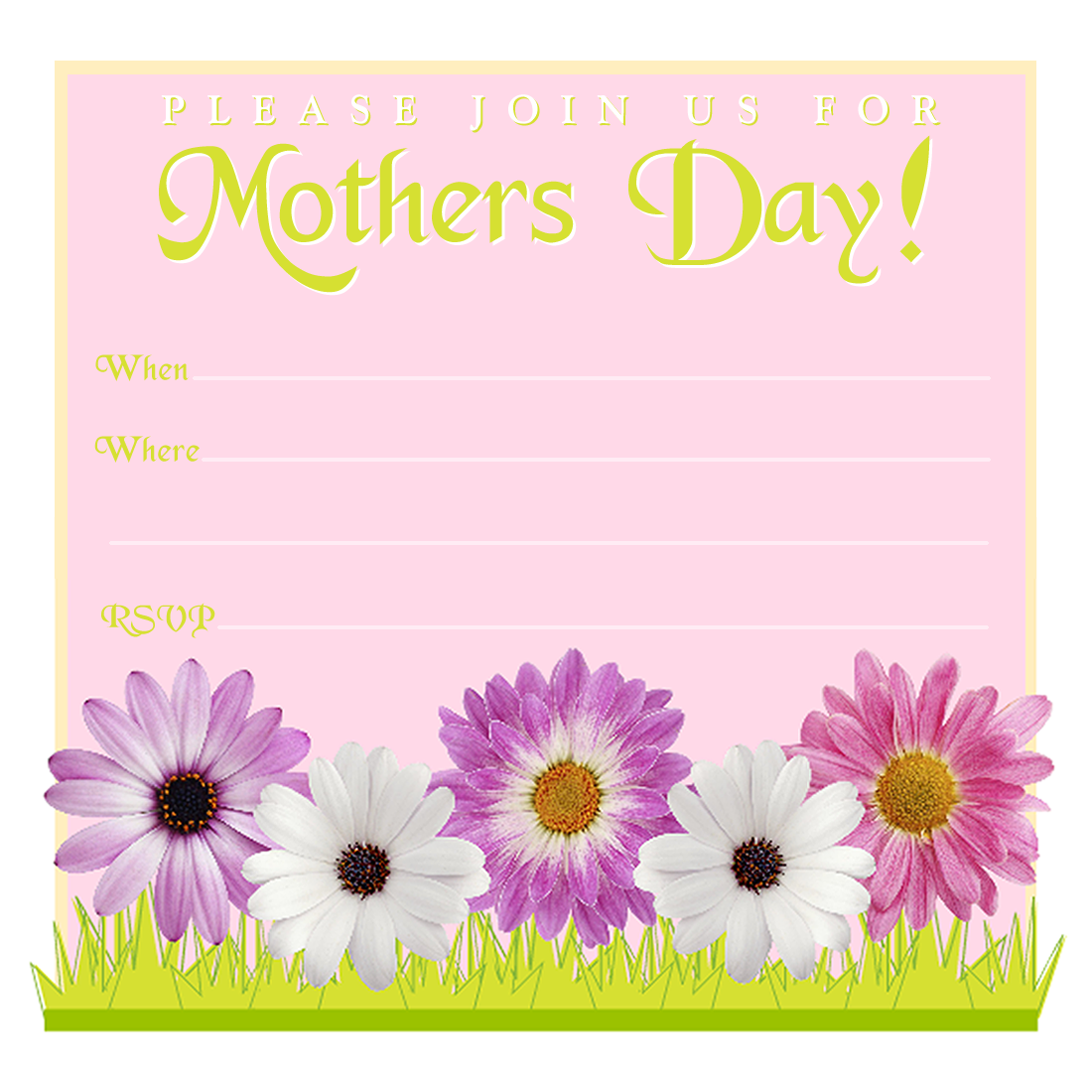 Free Mothers Day Invitations Cheerful Daisies Png 1100 1100 Brunch Invitations Free Printable Party Invitations Lunch Invitation
