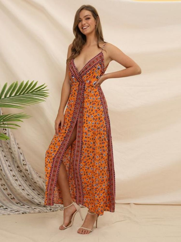 WANLING Women Maxi Dress Summer V Neck Split Prom Cocktail Party Sun Floral Casual Gowns Dresses