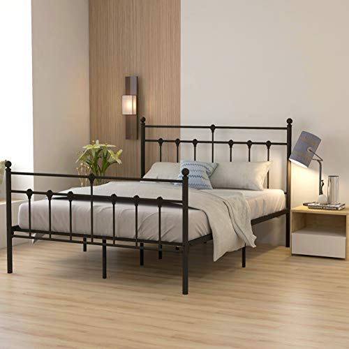 Metal Bed Frame Queen Size Platform No Box Spring Needed With Vintage Headboard Best Offer Furniturev Com In 2020 Queen Size Bed Frames Bed Frame Sizes Queen Bed Frame