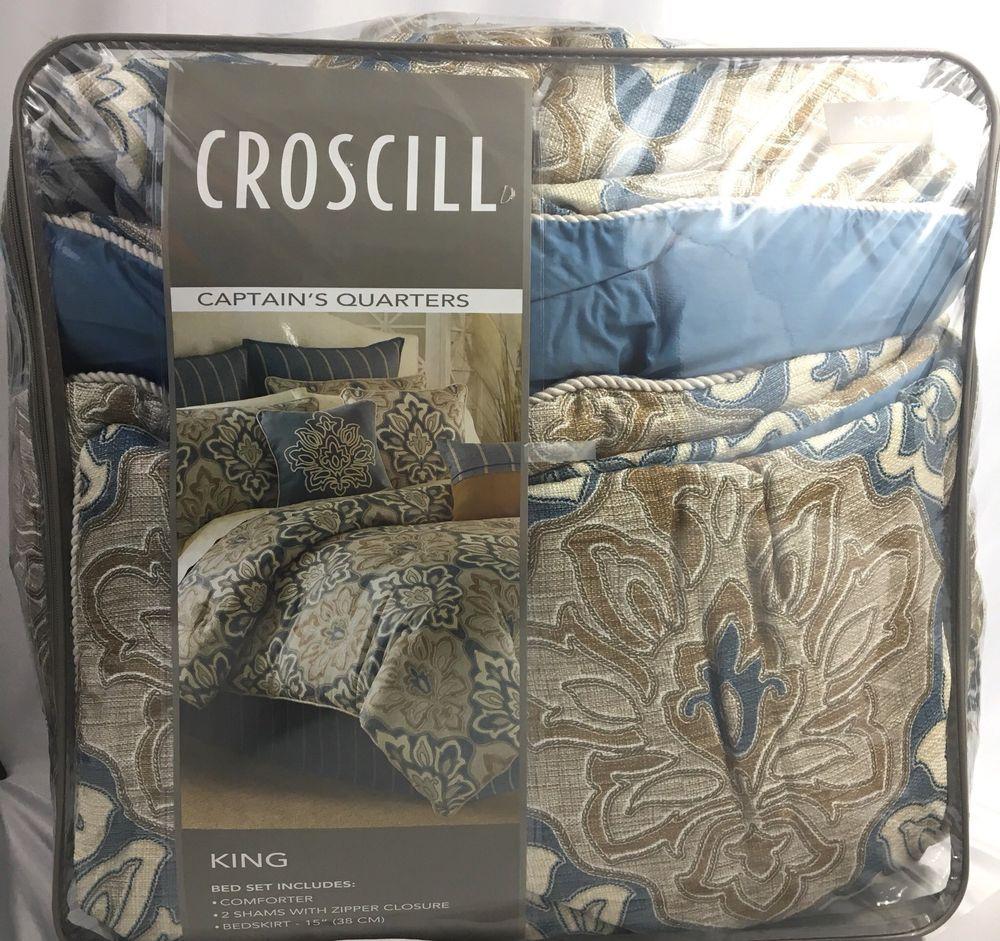 Croscill Captains Quarters King Comforter Set New Blue Beige 420 Ebay King Comforter Sets King Comforter