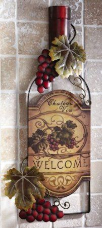 vineyard kitchen decor drawer slides amazon com wine bottle art wall by collections etc home