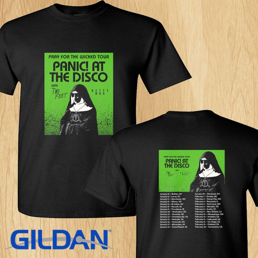 06ff3e03 Panic at the Disco Pray for the Wicked tour concert 2019 black tee shirt  S-2XL