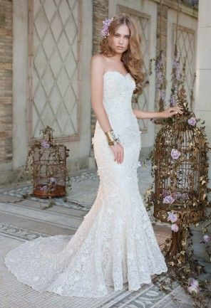 strapless lace trumpet wedding dress from camille la vie and group usa