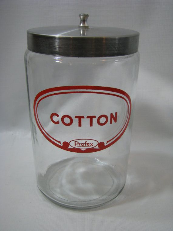 Vintage Cotton Ball Jar Doctors Office Profex Clear Gl Apothecary