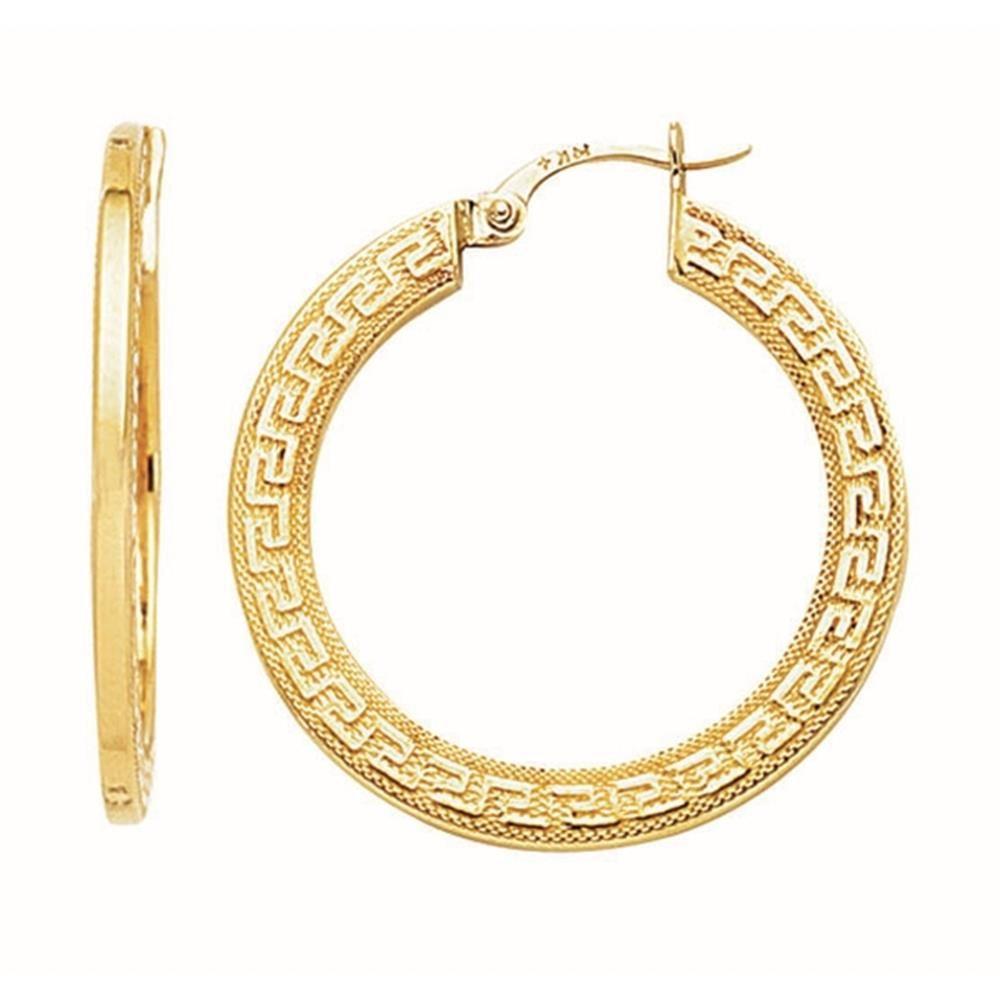 Etsy Nissonijewelry Presents 14k Yellow Gold Shiny Textured Flat Greek Key Small Hoop Earrings Model