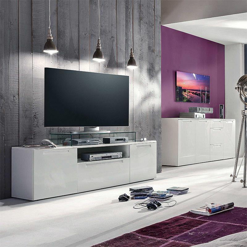 TV Board  Sideboard Set ALUNIE231 Hochglanz weiß Jetzt bestellen