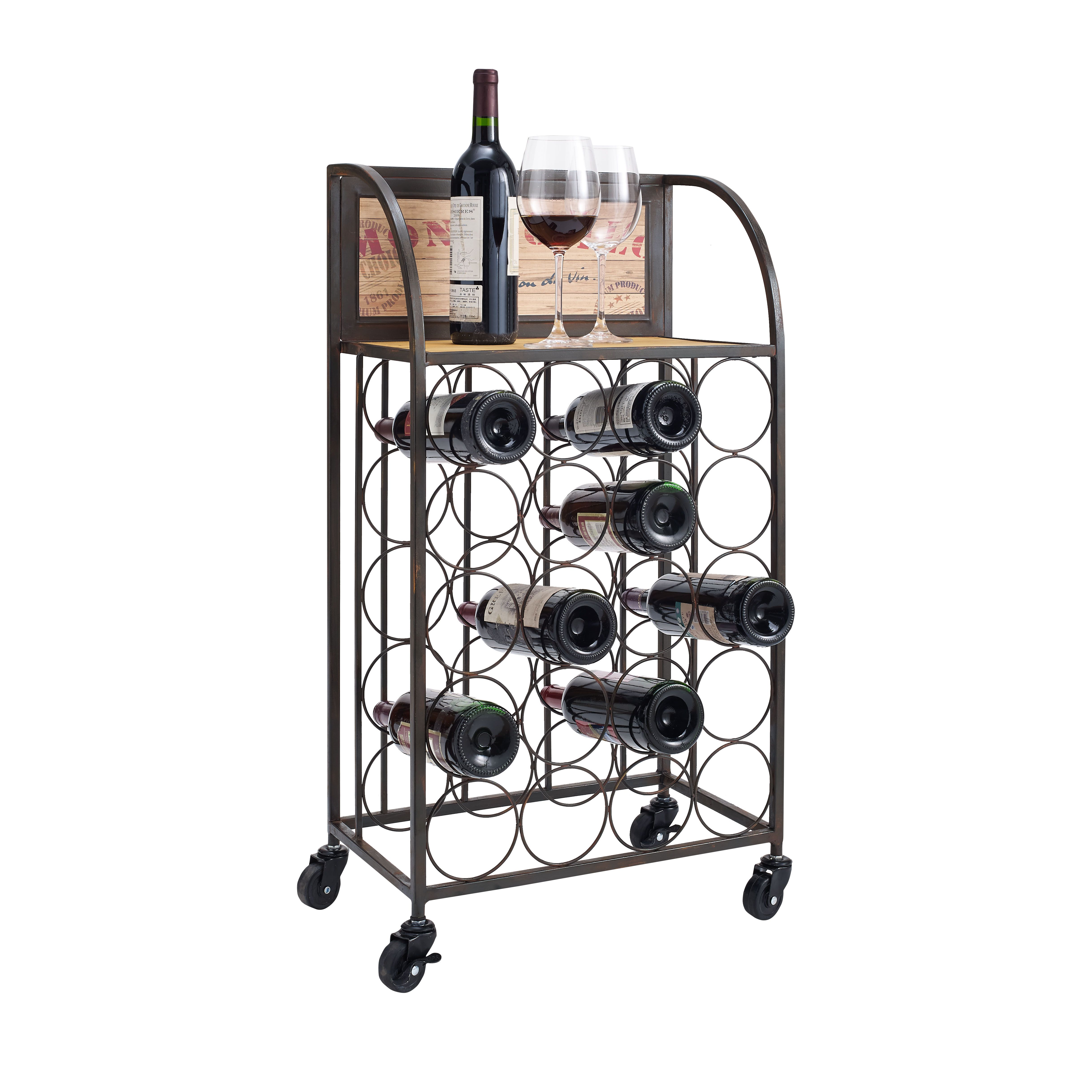 Linon Wood And Metal Wine Rack With Wheels Black Wine Rack Iron Wine Rack Wood Metal