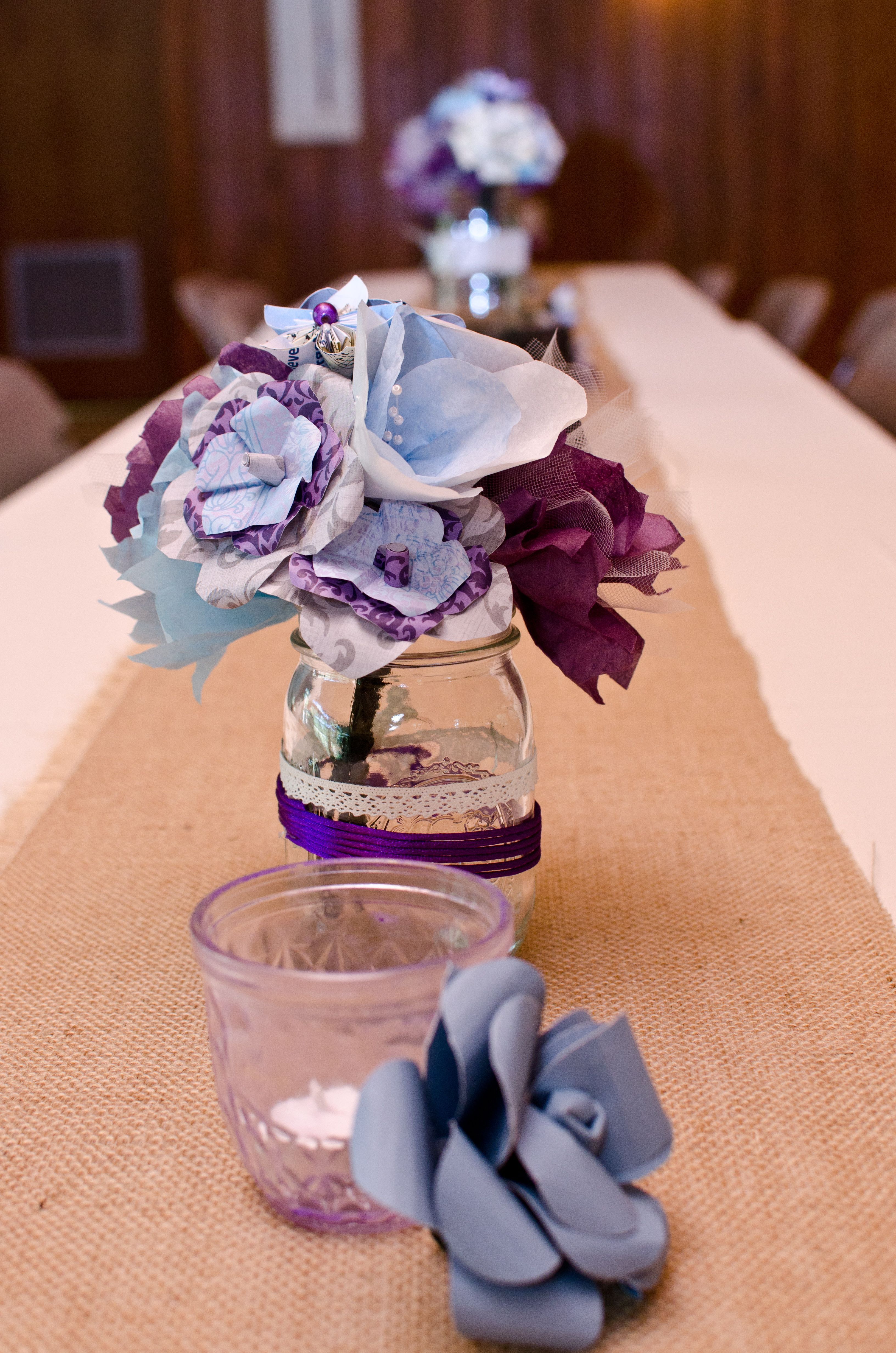 paper flower centerpieces - DIY - I like the runner idea instead of cluster in middle...