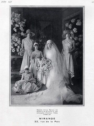 Mirande wedding dress, 1928, worn by Mrs. Enrico Marone.