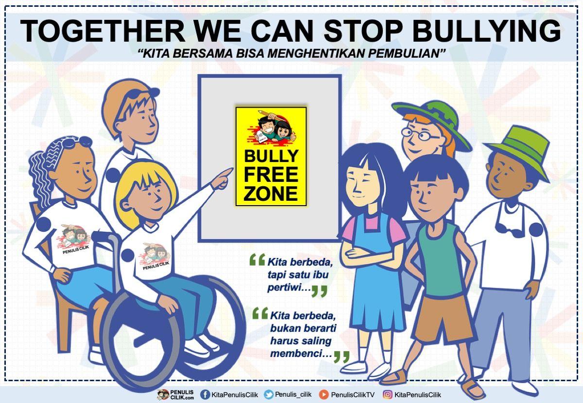 Poster Stop Bullying Dan Slogan Anti Bullying Bahasa Indonesia Penulis Cilik Poster Gambar Kartun