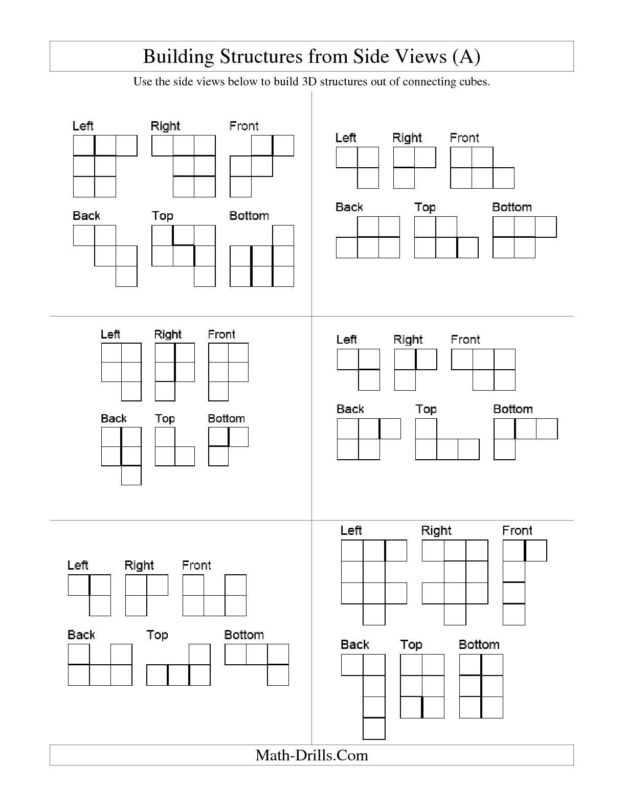 worksheet Cube Worksheet the building connecting cube structures from side views a math worksheet geometry