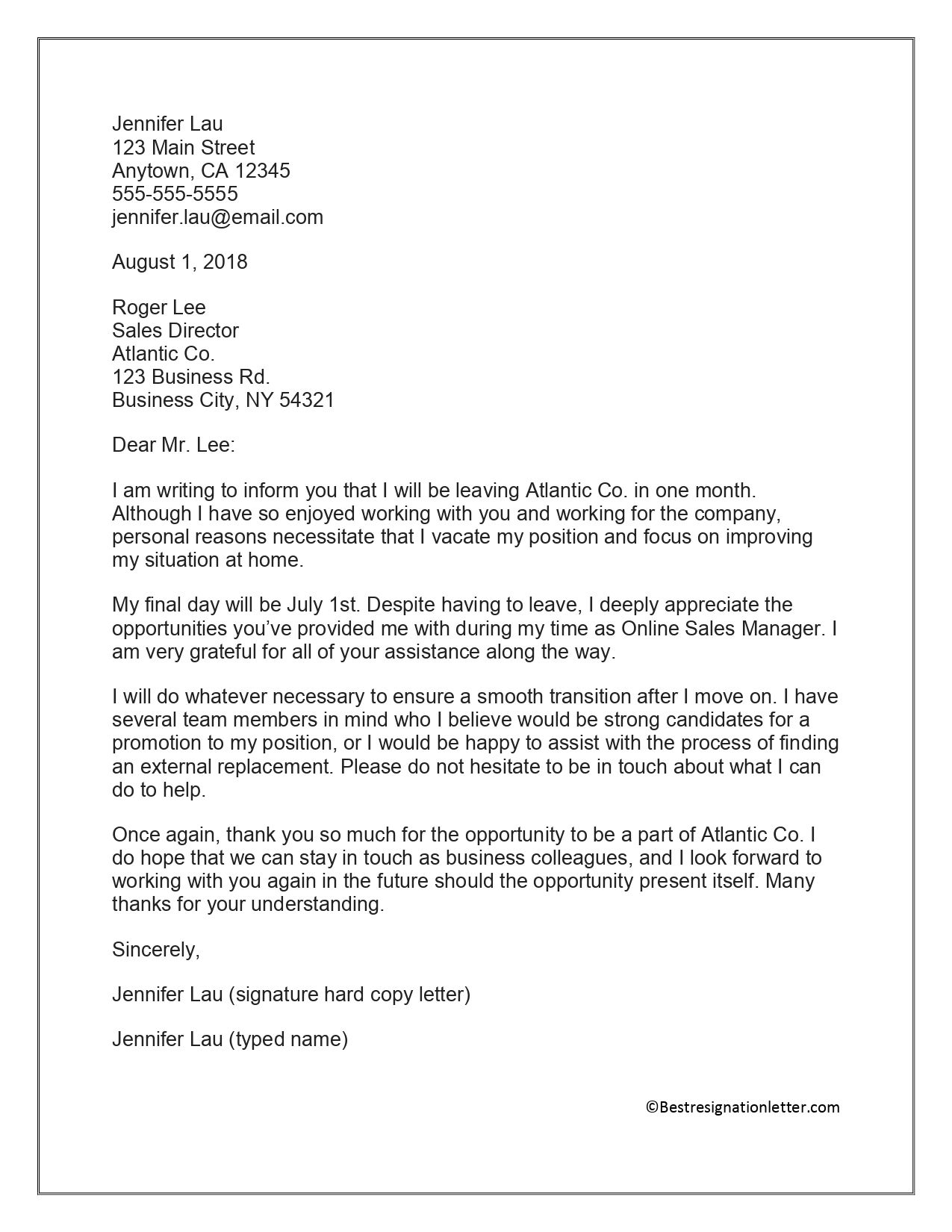 Pin on Resignation letter format