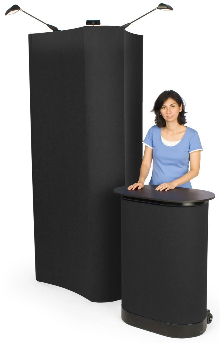 Trade Show Booth Loop : Sided trade show display w hook and loop fabric spotlights