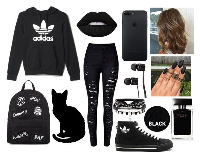 """Untitled #67"" by elizabetta-i ❤ liked on Polyvore featuring adidas, Mini Cream, Vans, Lime Crime, Narciso Rodriguez and Sleep In Rollers"