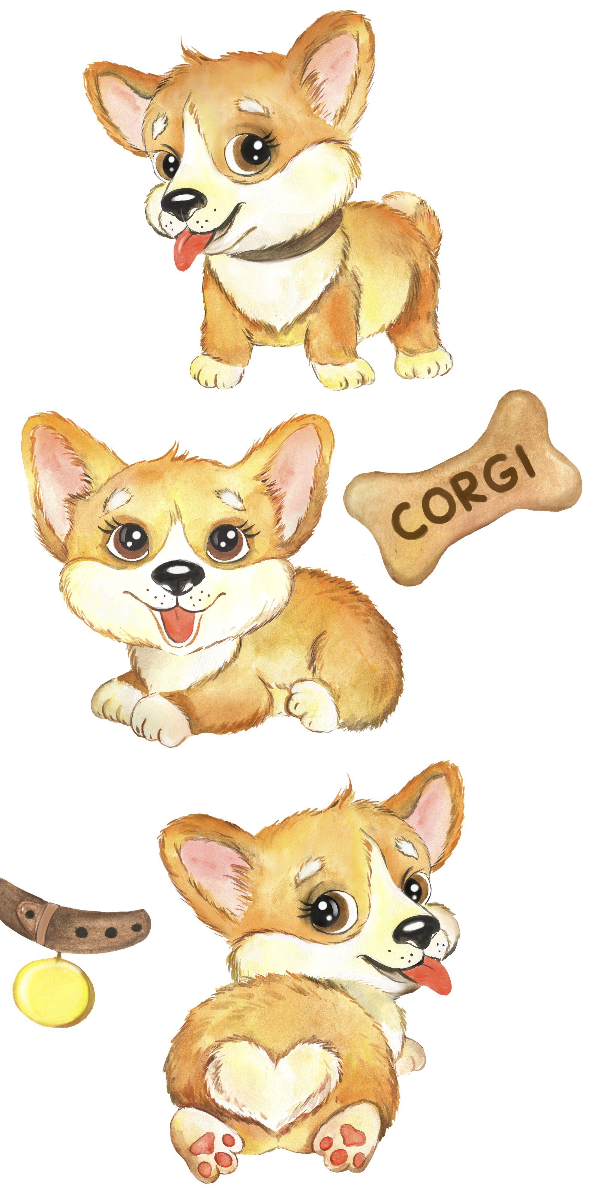 Puppies CORGI watercolor clipart. Pets clip art funny dogs ... (2000 x 4000 Pixel)