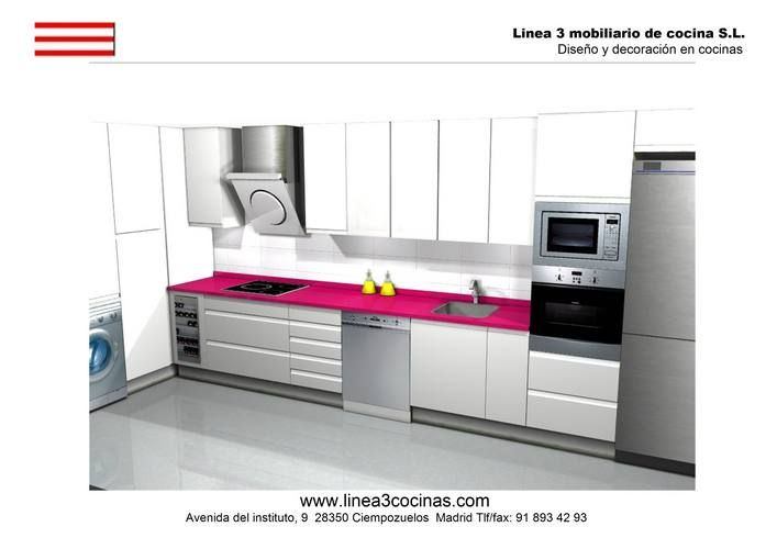 Cocinas cocina moderna modelo lisboa seda con encimera de silestone color fucsia ideas cocina - Cocinas rosa fucsia ...