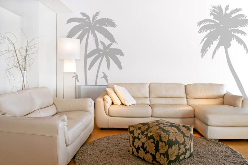 Palm tree and birds set vinyl wall art wall decal wall tattoo