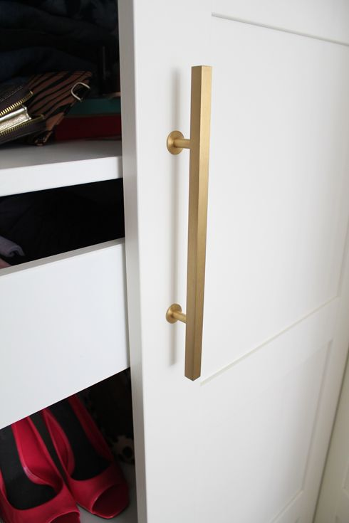 Making Ikea PAX Look Good   Brushed Gold Handles By Www.knobs.com.