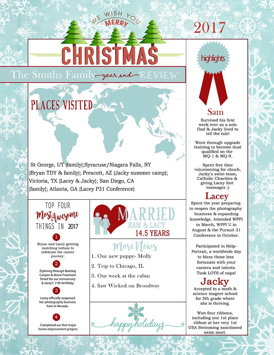 Christmas Holiday Double Sided Year End Review 8 5 X 11 In Etsy Christmas Holidays Holiday Holiday Greetings