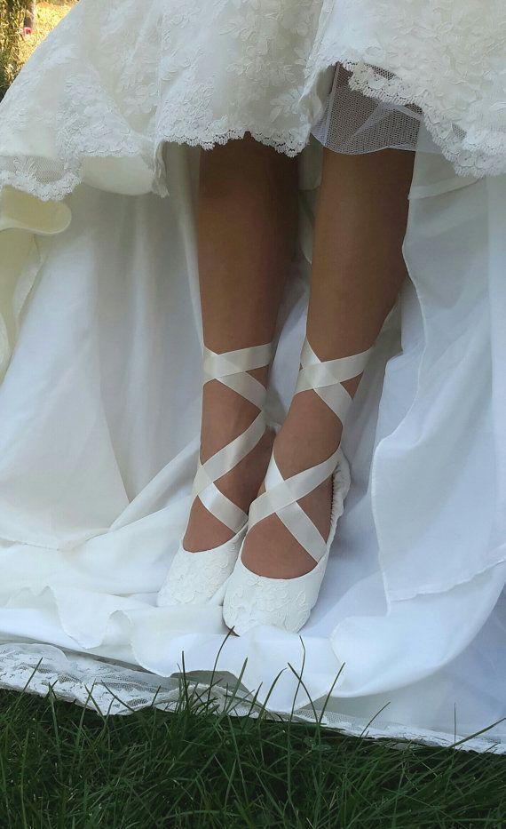 Spitze Ballerina Stil Braut Schuh Elfenbein von