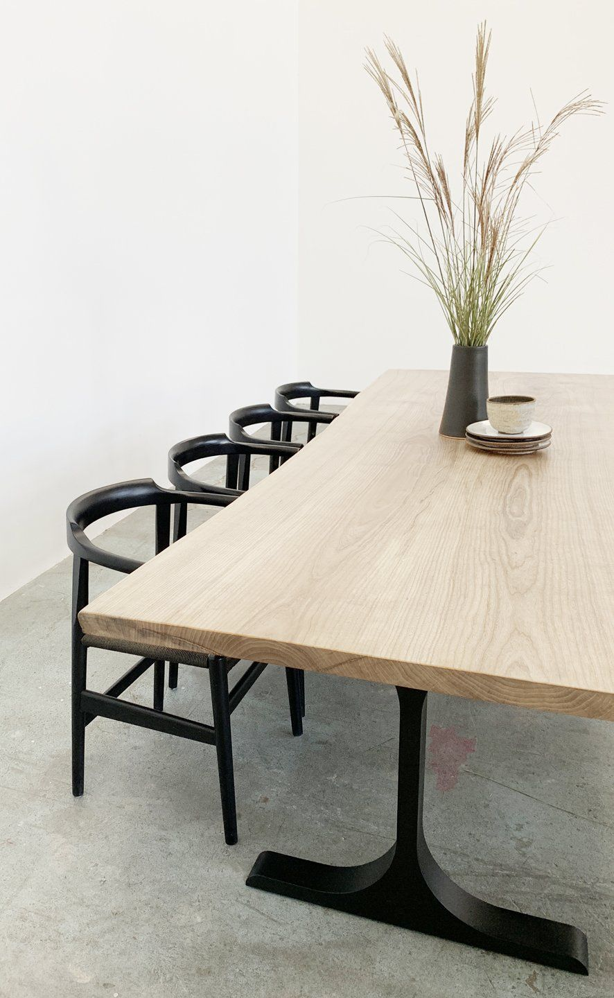 Mars Live Edge Dining Table White Ash With Metal T Legs In 2020 Live Edge Dining Table Dining Table Ash Dining Tables