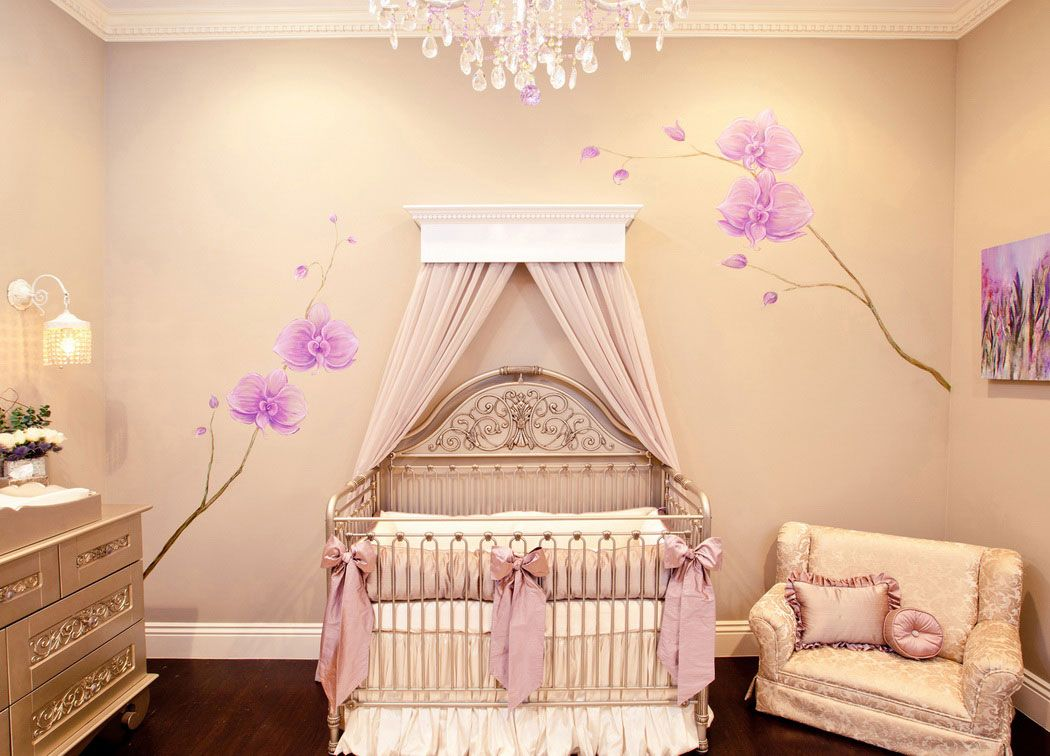 Baby Nursery Theme Rooms With Lacy Pillows And Beautiful Unique Crib