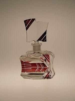 Bohemian Czech Glass Perfume Bottle Art Deco by Karl Palda, Vintage