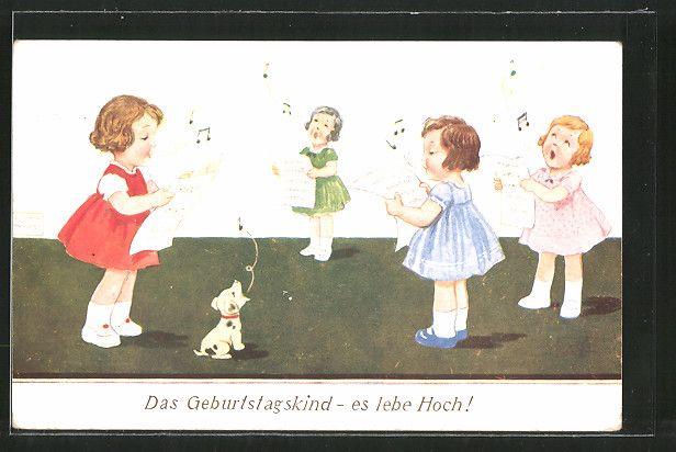 Künstler-AK John Wills: Das Geburtstagskind - es lebe Hoch!, singende Mädchen 0