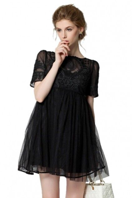 LUCLUC Black Puff High Rise Dress