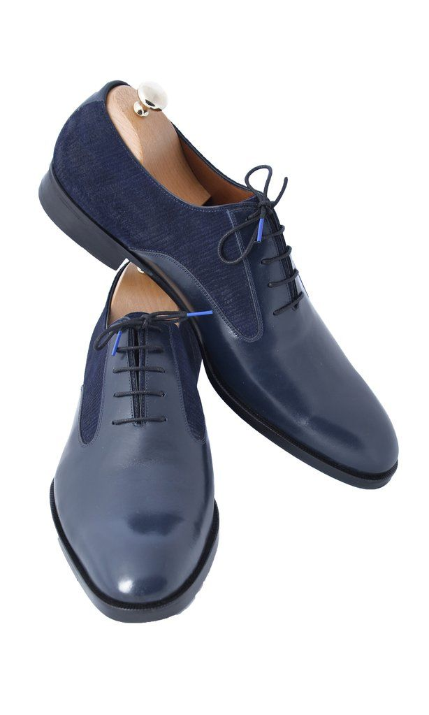 Navy Blue Leather and Suede Men Shoes