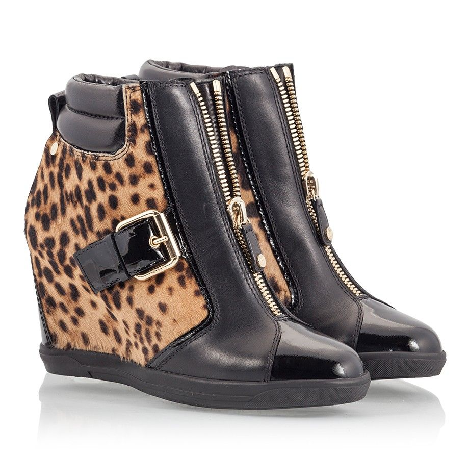 4a14e4c68bbd Ballin CRYSTAL Leopard pony hair and black leather sneaker wedge ankle boots
