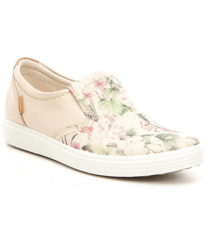 de6d80107182 ECCO Soft 7 Floral Leather Slip-Ons
