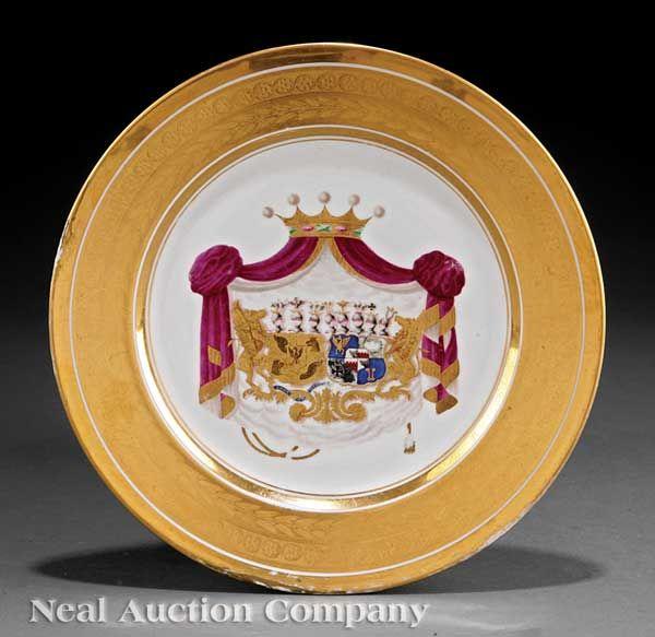 A Paris Porcelain Armorial Plate, mid-19th c.