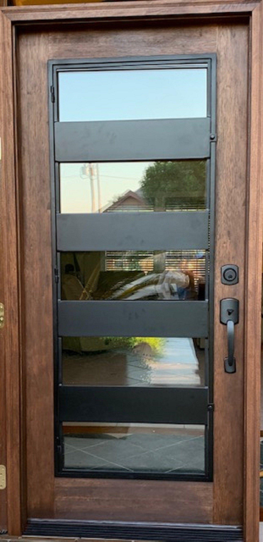 Modern Wood And Iron Entry Doorcontemporary Door Minimalist Etsy Modern Exterior Doors Iron Entry Doors Modern Door