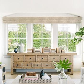 Console Table Under Window Design Ideas Living Room Windows Family Friendly Living Room Living Room Built In Cabinets