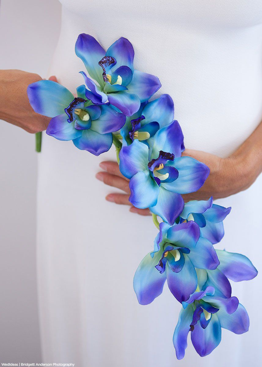 Blue Cymbidium Orchid Spray Tropical Silk Flowers Afloral Com Blue Orchid Centerpieces Wedding Flower Guide Blue And Purple Flowers