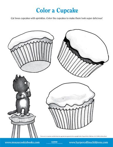 Color A Cupcake With Cat Winter Theme Preschool Childrens Literature Activities Laura Numeroff